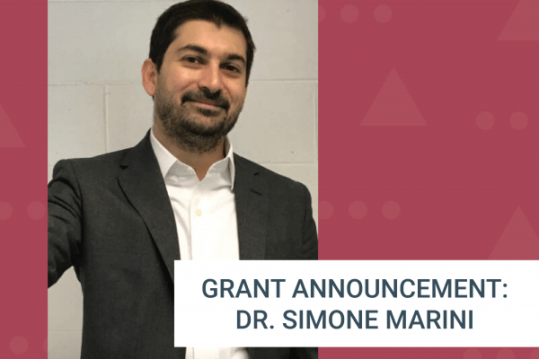 Red background with Dr. Marini's photo and a grant announcement message