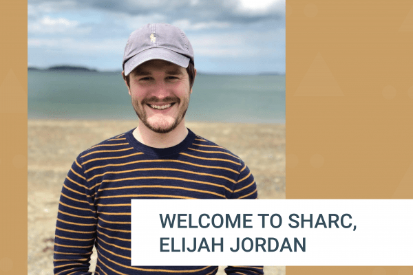 Yellow background with Elijah Jordan's photo and a welcome to SHARC message